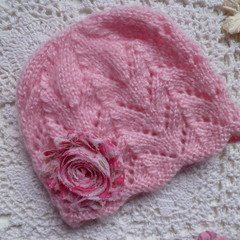 Baby girl's lacy beanie with chiffon flower; fits up to 6 months;  8-ply wool