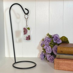 Hot pink flower rectangle keychain - resin