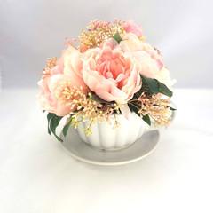 Mothers Day Gift - Large Ceramic Teacup & Saucer - Pink Silk Peony Arrangement