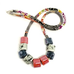 Speckled Egg Ceramic Beads on Kimo Cord - Red