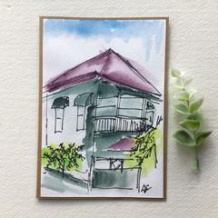 Queensland Homes Original watercolour mini artwork greeting card, Graceville