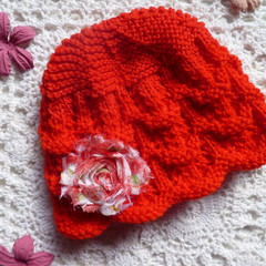 Baby girl's lacy beanie with chiffon flower, fits 3 - 9 months, 8-ply wool