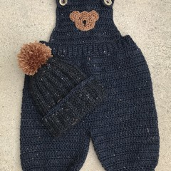 Crochet Baby Overalls and Beanie Size 4-6 months