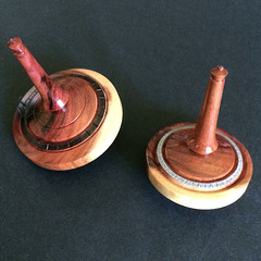 A Pair of Decorated Spinning Tops in Turned Kurara (Item 128 a & b)