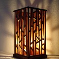 Unique handmade lamp made from recycled wood