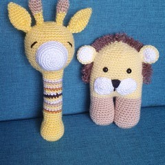 Handmade Crochet African Animal Toy and Rattle, Lion Soft Toy,Giraffe Rattle