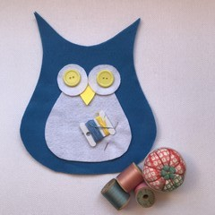 BLUE OWL with TUMMY SEWING KIT - WOOL Stuffing included