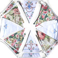 Vintage Embroidery & Roses Fabric Fabric Flag Bunting - Garden Party