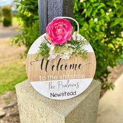 Welcome Front door round sign personalised