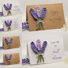 Handmade Greeting Card with Crochet Lavender