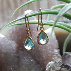 March Birthstone Earrings,March Birthday Gift Gold Filled
