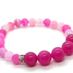 Hot Pink Jade and Pink Frosted Agate Stretch Bracelet with Swarovski Accents