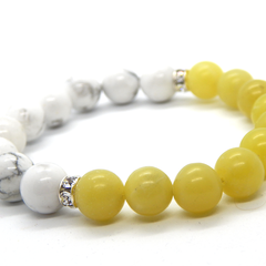 Yellow Butter Jade and Howlite Stretch Bracelet with Swarovski Accents