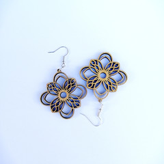Abstract bamboo earrings hook style