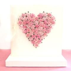 Handmade Paper Roses Heart Keepsake Card, Gift Boxed, For Her Card, Birthday