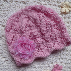 Baby girl's lacy beanie with chiffon flower; fits 6 - 12 months, 8-ply wool