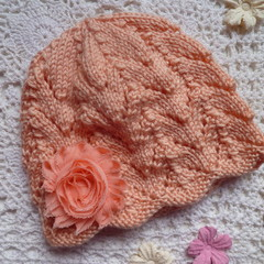 Baby girl's lacy beanie with chiffon flower; fits 9 - 18 months; acrylic