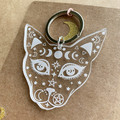 Witchy Cat Keyring - Engraved Acrylic Keyrings Key Chains