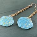 Pastel Blue Mermaid Shell Earrings with Gold Glitter - Long Drop Chain Earrings