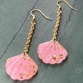 Pastel Pink Mermaid Shell Earrings with Gold Glitter - Long Drop Chain Earrings