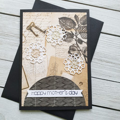 Happy Mother's Day Handmade Card (black base)
