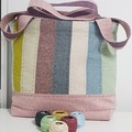 Colourful zippered tote bag.