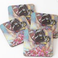 Butterfly on flower. Oil paining , printed on cushion covers and coasters