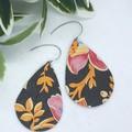 Genuine Leather, Floral Teardrop Earrings, Black/Multicolour,