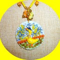 Yellow duck pendant. Enamel, polymer clay, seed beads. resin, acrylic paint.