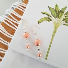 Rose Gold  Duo Earrings