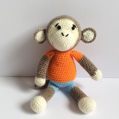 Monkey, crochet, Amigurumi, baby, gift, toy, nursery, animal, zoo