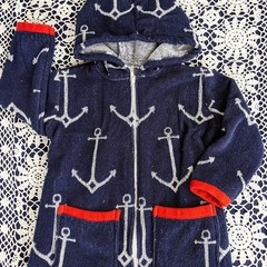 Boys Anchor SWIM ROBE with WATERPROOF back -  Size 1