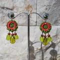 Woven Macrame Earrings with Swarovski crystal & Miyuki seed beads