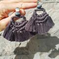 Woven Macrame Earrings with Handmade Wooden beads