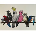 Birds on a Branch Edition of 10- Linoprint and Watercolour