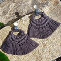 Woven Macrame Earrings with Handmade Wooden beads