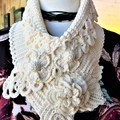 Crochet Neck warmer Stunning OOAK Ivory colour  Soft Cotton/Fine Merino Yarn