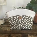 Medium Makeup Purse/Toiletry Bag - Olive Green/White Spot/White Faux Leather