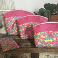Small Sewing/Project Bag - Tape Measures in Pink & Green/Pink Faux Leather