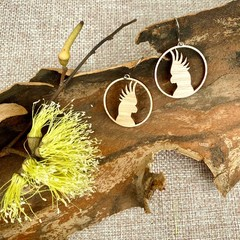 Cockatoo wooden earrings