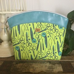 Large Sewing/Project Bag - Rotary Cutters/Scissors in Green/Aqua Faux Leather