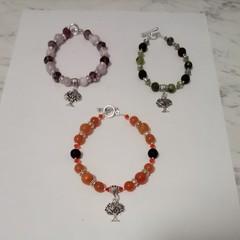 3 Brand New Handmade Green Pink and Orange Gemstone Bracelets