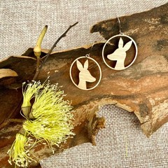 Kangaroo wooden earrings