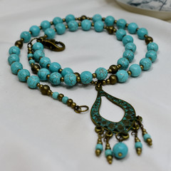 Turquoise Necklace with Antique Bronze Pendant and Earrings