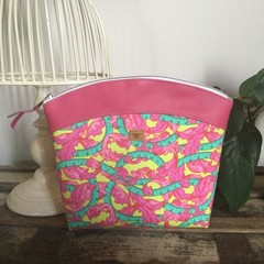 Large Sewing/Project Bag - Tape Measures in Pink & Green/Pink Faux Leather