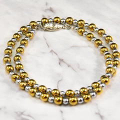 Haematite, Gold & Silver Choker Classic Necklace.
