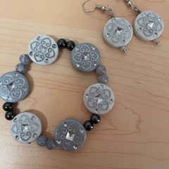 White and Grey beaded bracelet and earring set