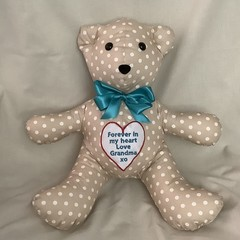 Memory Bear with Embroidered Heart Patch