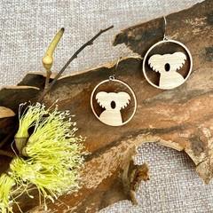 Koala wooden earrings