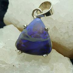 Gorgeous Purple Australian Opal Triangle in 925 Silver.